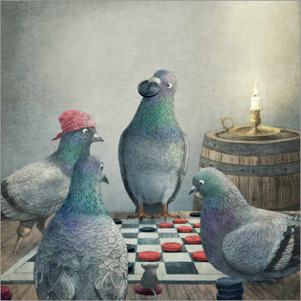 Premium poster  Checker playing pigeons - Terry Fan