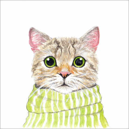 Wall sticker Cute cat with green eyes and scarf