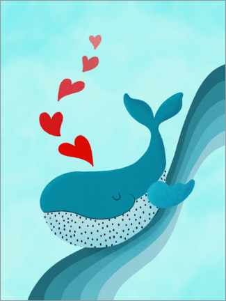 Premium poster Whale on wave