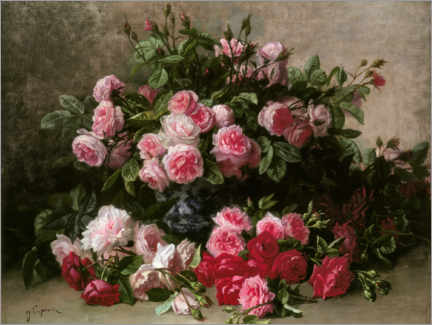 Canvas print  Still life with pink and red roses - Jean Capeinick