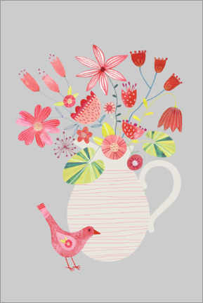 Premium poster Bird with a Jug of Flowers