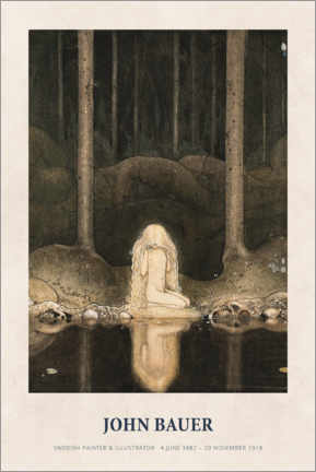 Wood print  John Bauer - Princess Tuvstarr gazing down - Museum Art Edition
