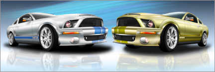 Premium poster Two modern sports cars face each other in the showroom