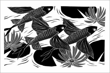 Premium poster Flash - Black and white flying fish