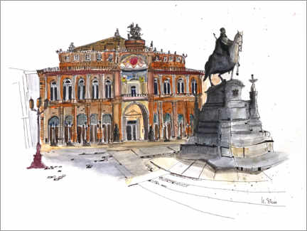 Acrylic print  Semperoper with equestrian statue, Dresden - Hartmut Buse