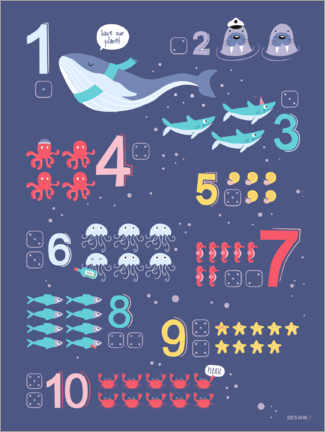 Wood print  Counting numbers with marine animals - Heyduda