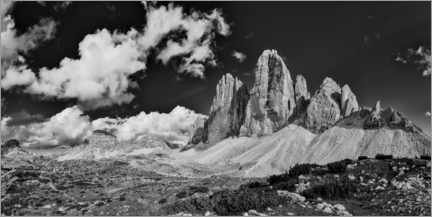 Premium poster The three peaks in black and white