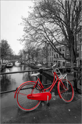 Premium poster  Red bicycle on the canal, Amsterdam - George Pachantouris