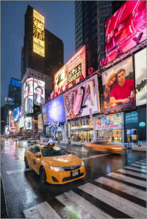 Premium poster Taxi am Times Square in New York City