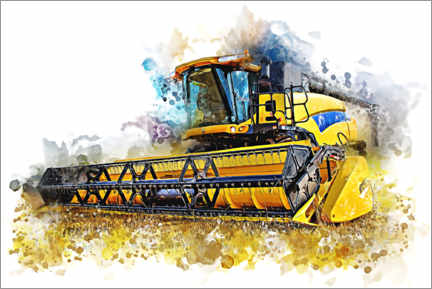 Canvas print  Combine harvester in action - Peter Roder