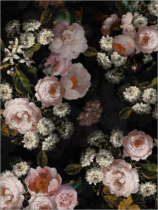 Premium poster Dutch vintage roses on black