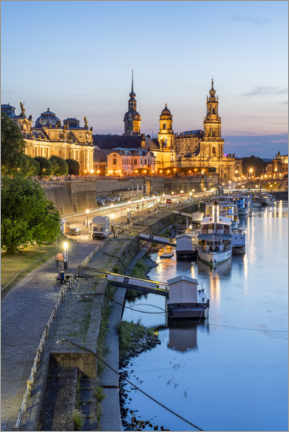Premium poster Dresden old town in the evening