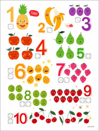 Premium poster Learning numbers with cheeky fruits