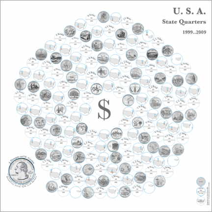 Premium poster  The fifty state quarters on a pentagonal spiral by daylight - Carlos Catalogart