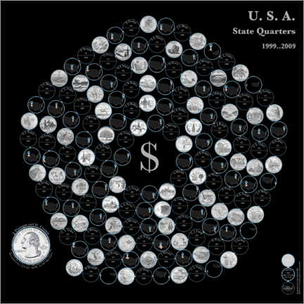 Canvas print  The fifty state quarters on a pentagonal spiral by nighttime - Carlos Catalogart