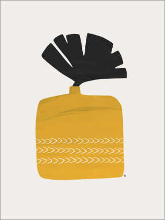 Wood print  Plant in Yellow Ochre Pot - Tracie Andrews