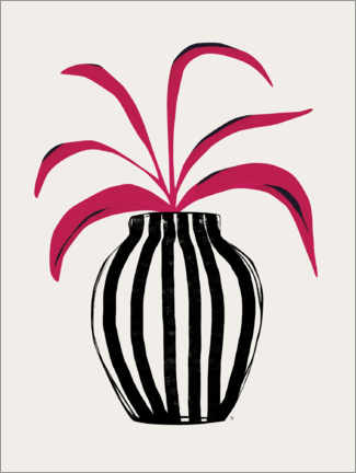 Canvas print  Pink Plant Striped Pot - Tracie Andrews