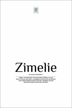 Acrylic print  Beautiful words - Zimelie (German) - Sprachschatztruhe