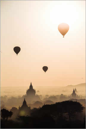 Premium poster Balloons over the temples, Burma