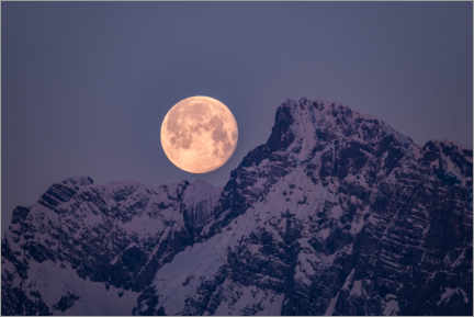 Premium poster Full moon over the mountains
