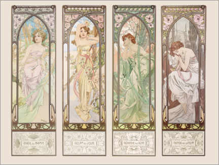 Wood print  The Times of the Day - Alfons Mucha