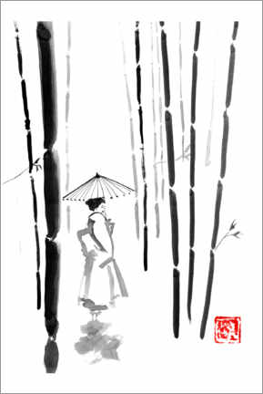 Premium poster  Geisha in bamboo forest - Péchane