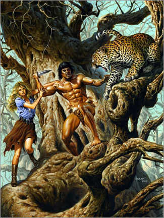 Premium poster  Tarzan protects Jane from the leopard