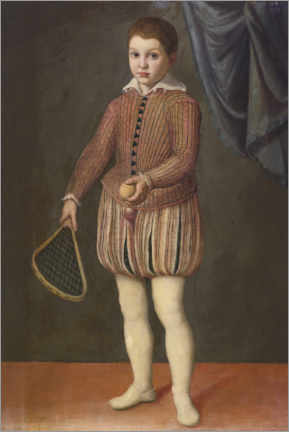Premium poster  Portrait of a boy holding a tennis racket and ball - Sofonisba Anguissola