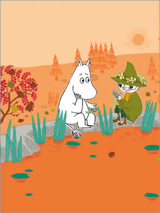 Wood print  Moomin and Snufkin - Favourite place
