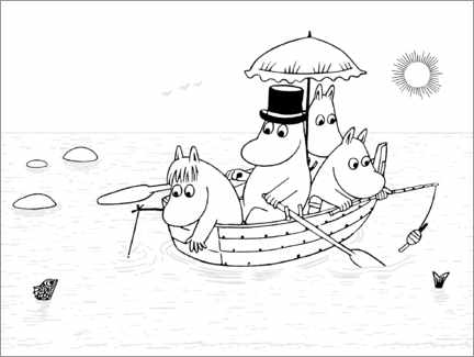 Colouring poster  Moomins boat trip