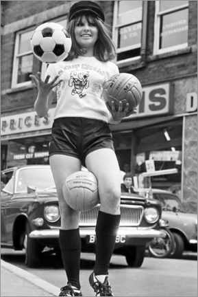 Wood print  Anne Worrall in Soccer World Cup gear, England 1966