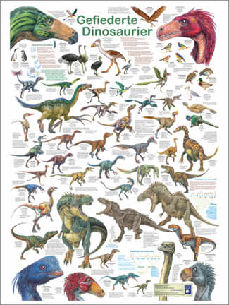Wood print  Feathered dinosaurs - Planet Poster Editions