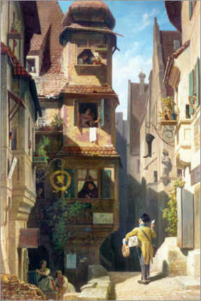 Wall sticker  The Postman in the Rose Valley - Carl Spitzweg