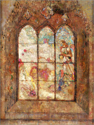 Wood print  The stained glass windows - Odilon Redon