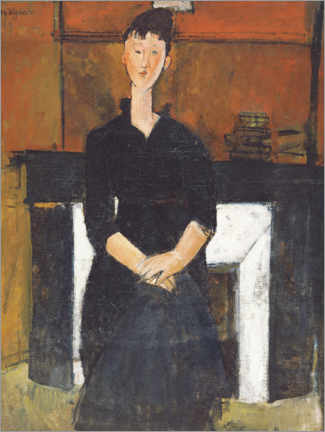 Premium poster Woman Seated by a Fireplace