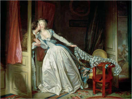 Wood print  The stolen kiss - Jean-Honoré Fragonard