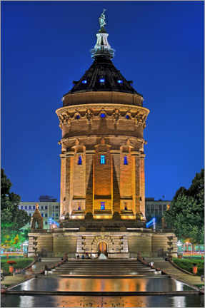 Gallery print  Lighted Water Tower in Mannheim - FineArt Panorama