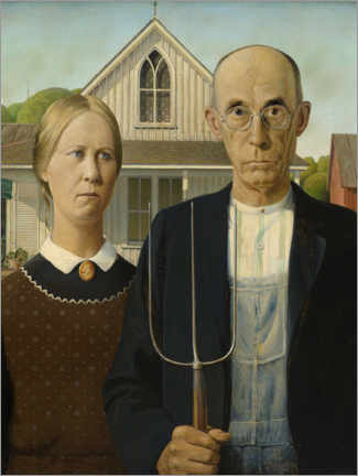 Canvas print  American Gothic - Grant Wood