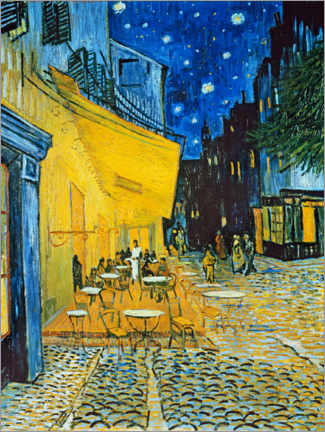 Wood print  Cafe terrace at Place du Forum, Arles in the evening - Vincent van Gogh