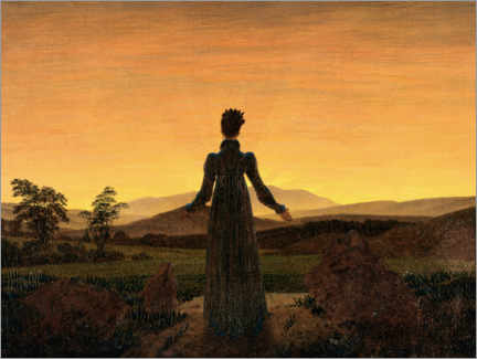 Wood print  Woman in the morning sun - Caspar David Friedrich