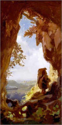 Canvas print  Gnome, looking at the first railway out of a cave - Carl Spitzweg