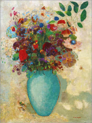Acrylic print  The big turquoise vase - Odilon Redon