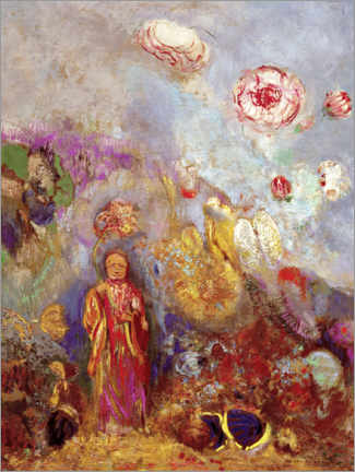 Canvas print  Buddha and flowers - Odilon Redon