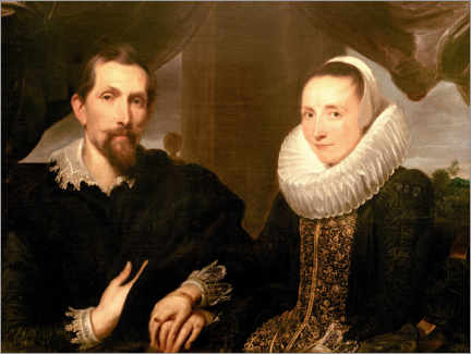 Aluminium print  Portrait of the painter Frans Snydersand his wife - Anthonis van Dyck