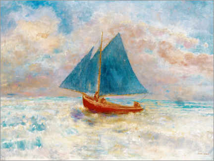 Acrylic print  Red boat with blue sails - Odilon Redon