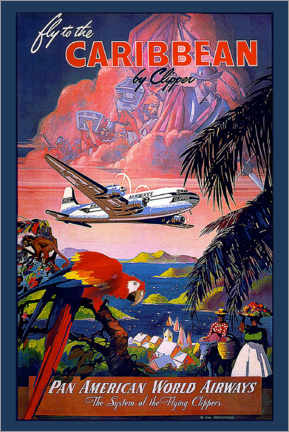 Premium poster  Fly to Caribbean by Clipper - Travel Collection