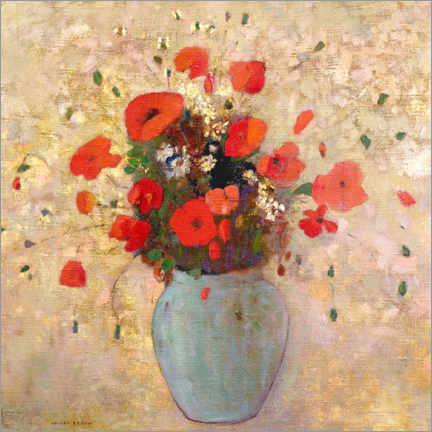Premium poster  Vase of poppies - Odilon Redon