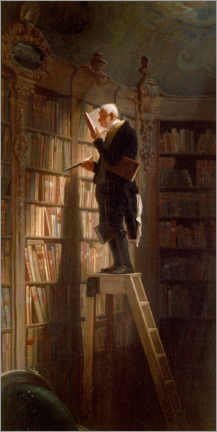 Wood print  The bookworm - Carl Spitzweg