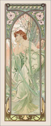 Wood print  The Times of the Day - Evening Contemplation - Alfons Mucha