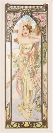 Wood print  The Times of the Day - Brightness of the Day - Alfons Mucha